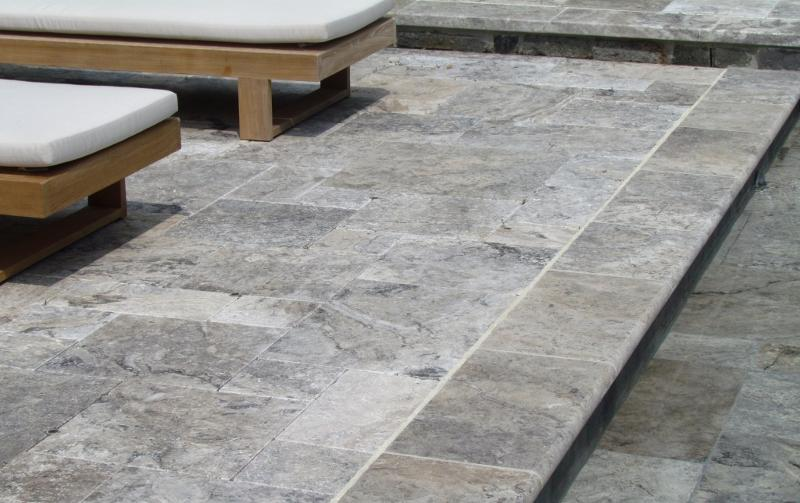 Silver travertine bullnose pool coping travertine pavers for Paver installation adelaide