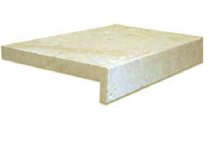 Antique Travertine pool coping paver drop face