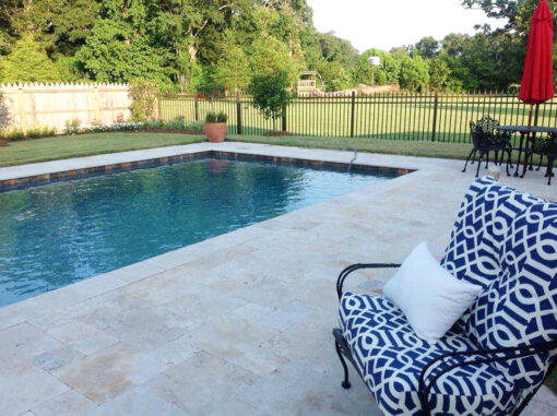 Antique travertine french pattern pool tiles and coping tiles