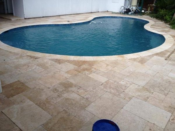 French pattern ivory pool paving and coping tiles