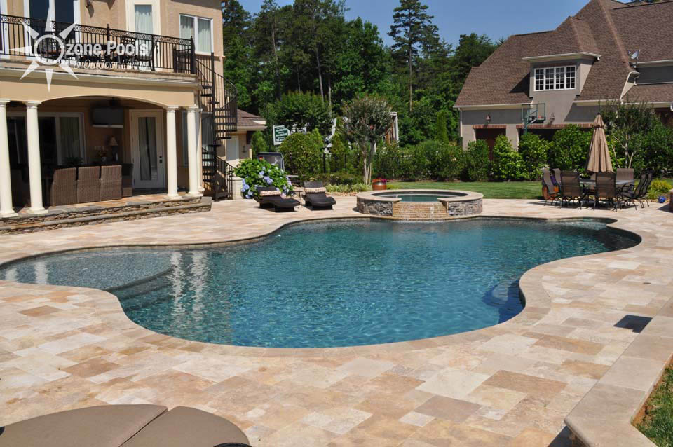 Ivory travertine french pattern pool tiles