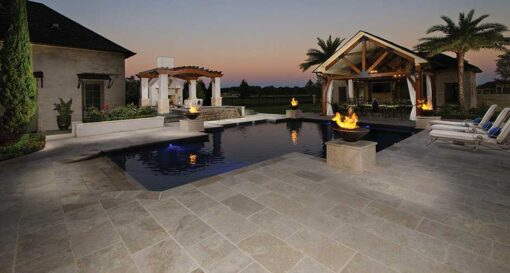 Ivory travertine tiles for outdoors pool