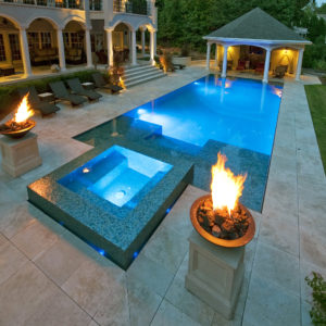Noce travertine pool tiles pavers