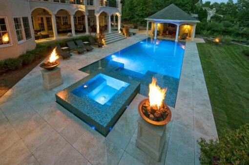 Noce travertine pool tiles pavers