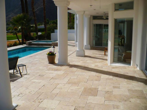 Outdoor tiles french pattern ivory travertine
