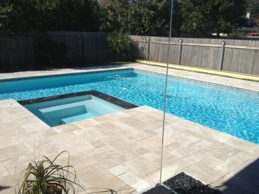 Pool Tiles and coping in color travertine ivory