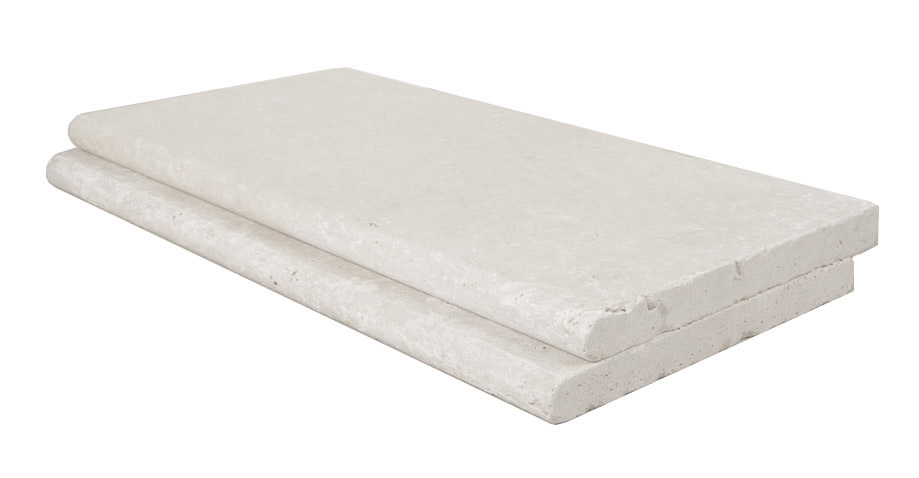 Shell White Travertine Pool Coping Bullnose Tiles