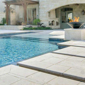Shelly White travertine tiles and pool coping (2)