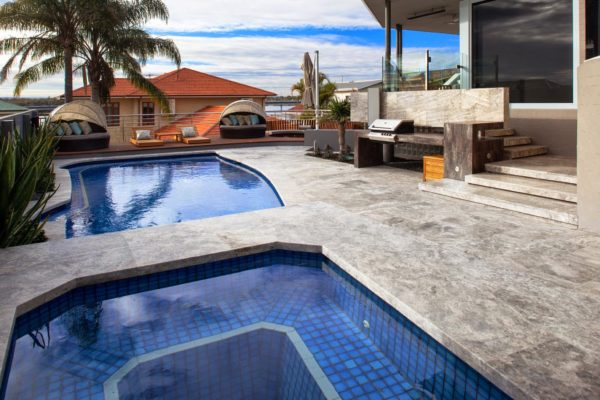 Silver Travertine Drop face pool coping and paving tiles