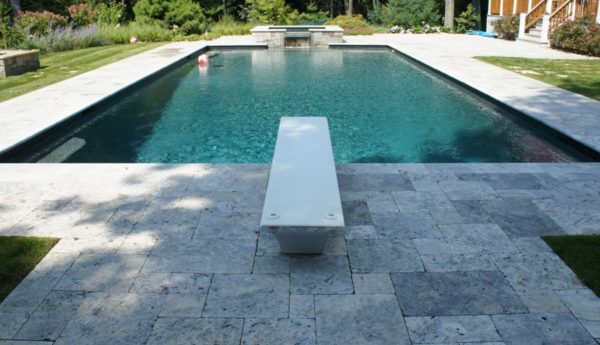 Silver travertine bullnose pool coping tiles (2)