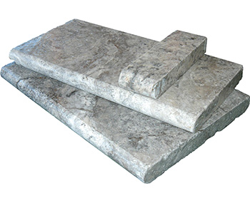 Silver travertine bullnose pool coping tiles