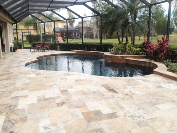 antique travertine outdoor tiles and pool tiles in french pattern tumbled and unfilled