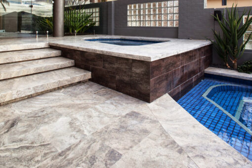 silver travertine pool pavers and drop face pool coping 75mm drop face