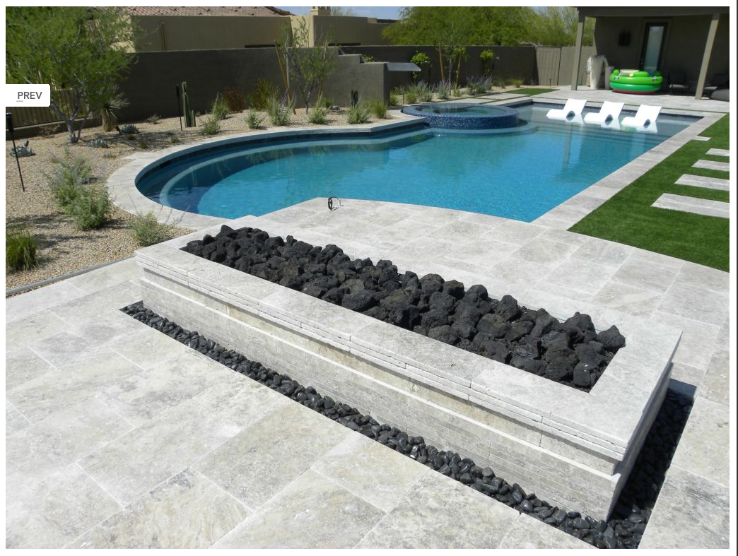 Silver Travertine Tumbled Edge Drop Face Pool Coping