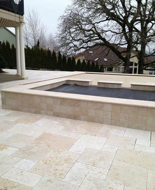 Unfilled and Tumbled Classic Travertine Bullnose