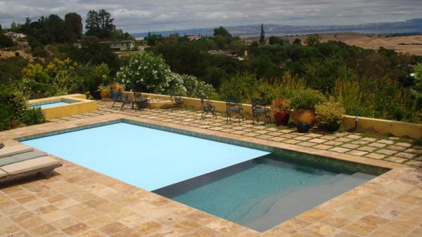 Noce travertine pool paving and coping tiles