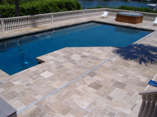 Noce travertine pool tiles
